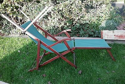 vintage retro wooden folding deck chair/lounger x 2