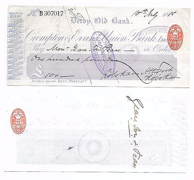 CHEQUE - 1886 BANK:- DERBY OLD BANK/CROMPTON EVANS UNION BANK,- £100 - 1d DUTY