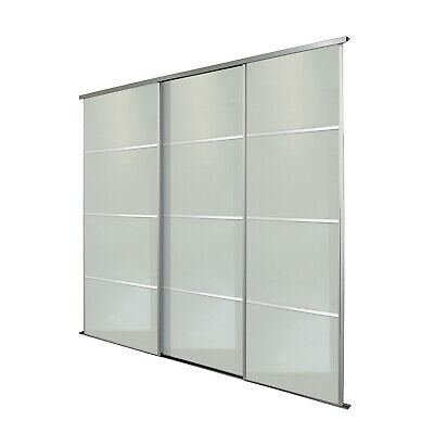 Silver Frame Soft White Glass 4 Panel Sliding Wardrobe Doors Kit - Free Delivery