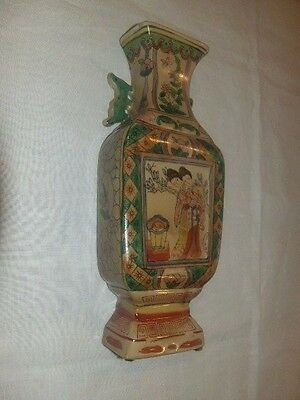 Vintage Japanese Wall Pocket Vase Asian Ceramic Hand Painted By The Bombay Co