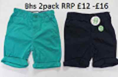 Boys shorts chino trousers 2 pack 12 18 months 2 3 4 5 6 7 years navy green
