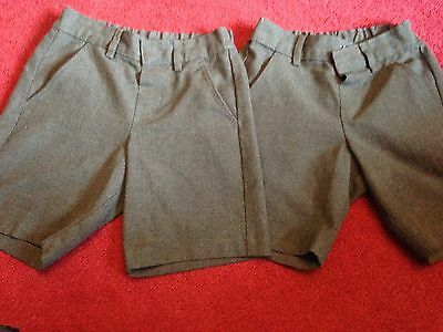 2 x BOYS CHARCOAL GREY SCHOOL SHORTS age 4-5 years from M&S - ADJUSTABLE WAIST
