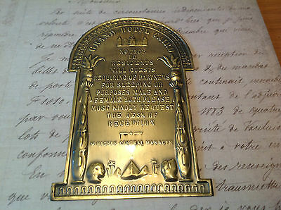Brass-Copper-Plaque-GRAND-HOTEL-CAIRO, RISQUE