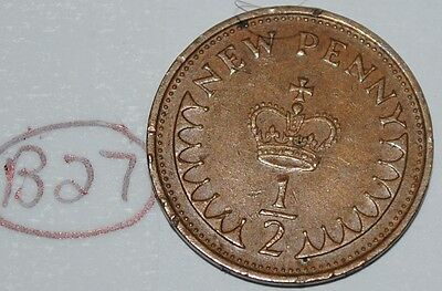 1971 Great Britain 1/2 New Penny UK Coin KM# 914 Lot #B27