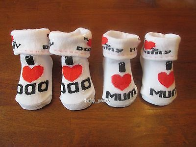 Baby Ankle Socks I Love Heart Mum Dad Girls Boys Baby Shower Gift 0-6 Months
