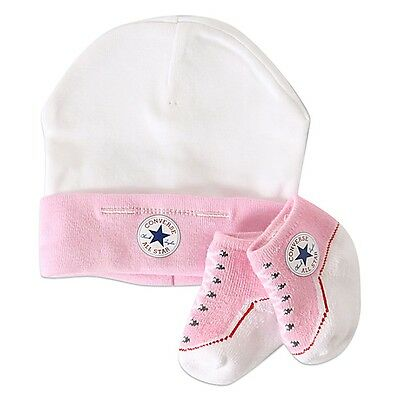 Converse Baby All Star Knit Booties And Hat 2 Piece Set Pink
