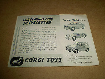 CORGI NEWSLETTER CATALOGUE 1956 UK 1st EDITION NEAR EXCELLENT CONDITION FOR AGE