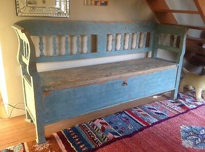 Antique Large Pine Box Settle Bench Scandinavian Vibe Blue From The Swedish Room