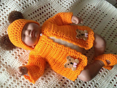 "hand crochet baby doll jacket,shoes  & hat for 18"" Leonor berenguer doll"