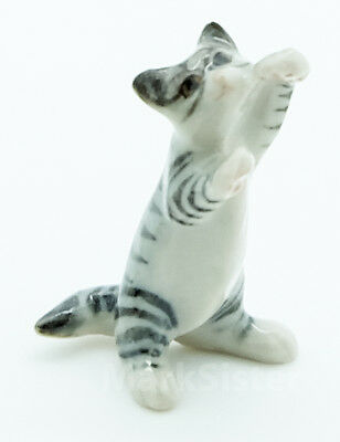 Figurine Animal Ceramic Dollhouse Miniature Cat Kitten Stand Up Looking - CCK080