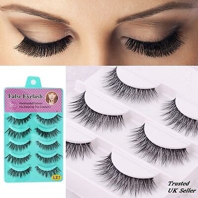 5 Or 10 Pairs Long Natural Thick Handmade Makeup Fake False Eyelashes Eye Lashes