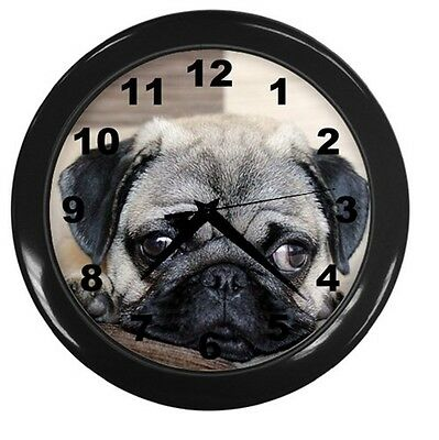 NEW PUG FACE DOG ROUND 10 inch WALL CLOCK HOME OFFICE DECOR 89225978