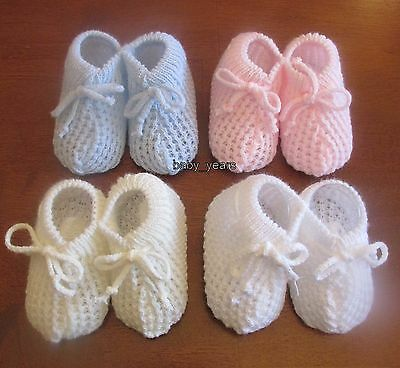 Baby Knitted Booties Shoes Socks Girls Boys Pink Blue White Cream 0-3 Months New