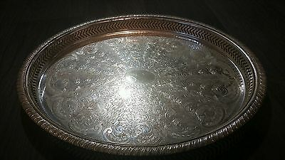 Beautiful Antique Silver Plate Serving Tray Ornate