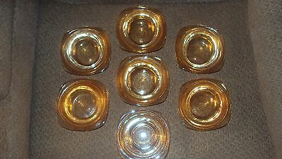 Vintage Depressions Glass 7 Small Bowls-Deep Yellow