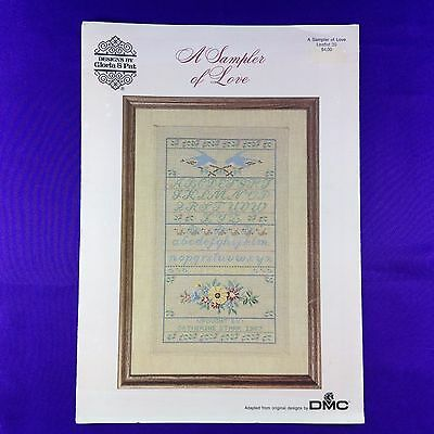 "Vintage Cross Stitch Chart Leaflet ""A Sampler Of Love"" - Designs by Gloria & Pat"