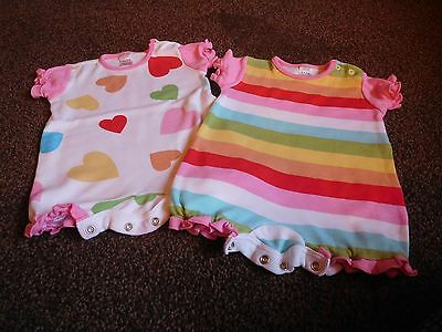 2 x Next girls baby vests or sun suit 0-1 months