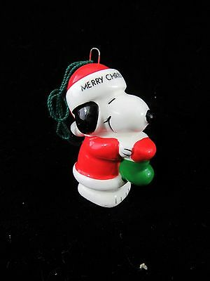 Vintage 1980 Peanuts Snoopy Ceramic Ornament Santa Stocking Merry Christmas