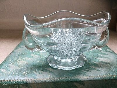 SOWERBY Art Deco 1930's Blue Tinged Glass Elephant handle Bowl And Frog #2614