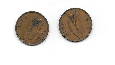 Ireland (Eire) - 2 x 1 penny coins, 1941 and 1943