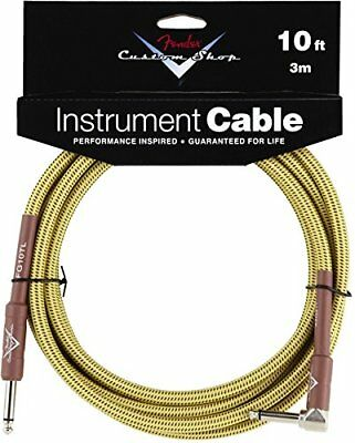 Fender Custom Shop TWEED Electric Guitar Cable, Straight to Right-Angle, 10' ft