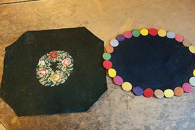 Victorian Doilies- Black Wool Felt - Petit Point & Applique- LOVELY- SALE