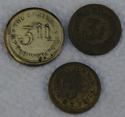 Lot of 3 Apothecary Weights - 3ii Two Drachms - 3i One Drachm (x2)