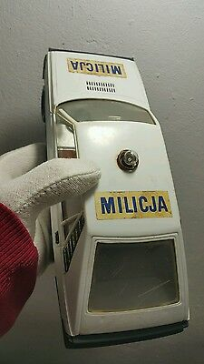 Vintage Police Toy Car Friction Polonez Fiat Tin And Plastic Milicja Model Rare