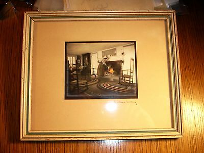 Wallace Nutting Signed Interior Woman @ Fireplace 8 3/4 x 7 1/4 Colorized Photo