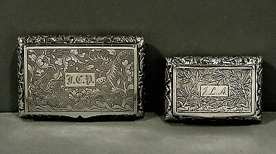 Chinese Export Silver Snuff Boxes   (2)               RARE MAKERS  KHC & HK