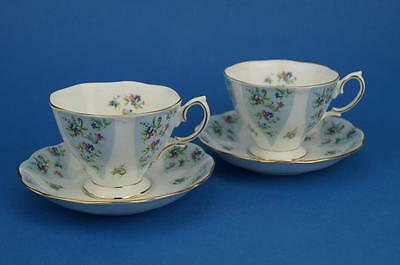 Pair of ROYAL ALBERT Debutante Tea Cups & Saucers GAIETY Forget-me-not BLUE vgc
