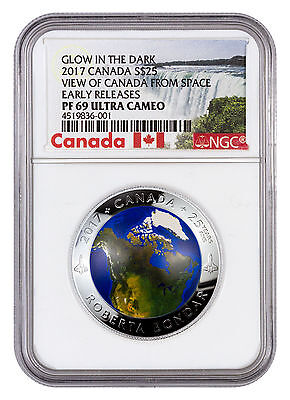2017 Canada $25 1 oz Glow Dark Domed Silver View Space NGC PF69 UC ER SKU45082