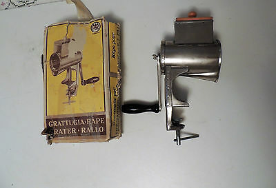 Vintage Torino Cheese Nut Grater Mill Steel with wood block VGUC