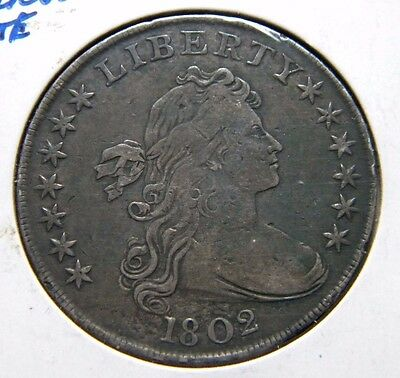 1802 Draped Bust Silver Dollar***narrow Date***very Fine Condition***agoo