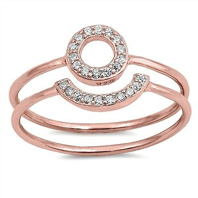 .925 Sterling Silver Rose Gold Plated Open Circle Clear CZ Promise Ring Set NEW