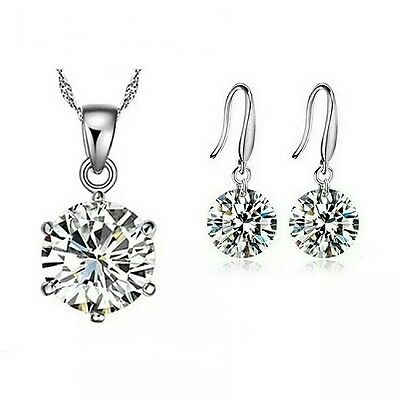 Silver Necklace And Earring Set **uk Seller** Valentine Wedding Bridesmaid Gift