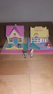 Polly Pocket Bluebird lot Toy Shop et Cosy Cottage 1993+ 2 personnages