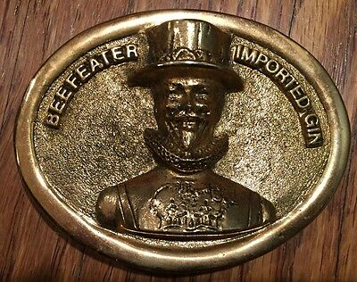 Vintage 1970s  Beefeater Gin Promotional Gold Belt Buckle England Rare