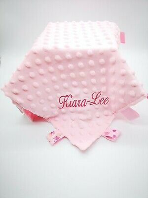 Personalised Baby Soft Dimple star/heart Comforter Taggy taggie tag  Blanket