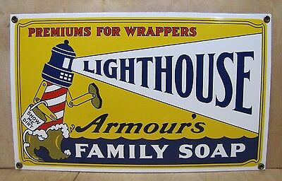 Vintage Porcelain Armour's Lighthouse Family Soap Advertising Sign show me dirt