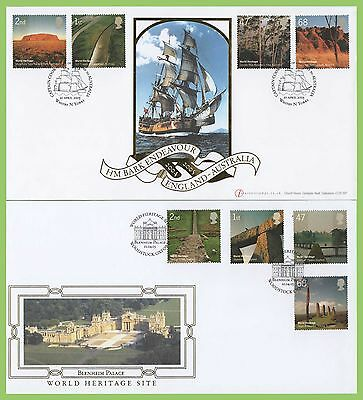 G.B. 2005 Heritage Sites set of 2 Buckingham First Day Covers, Blenheim & Whitby