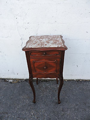 French Walnut Marble Top Nightstand  End Table Side Table 8016