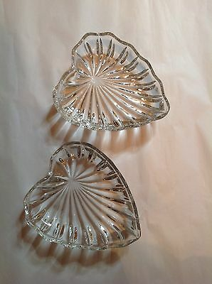 Pair Of Clear Glass Heart-shaped Dishes