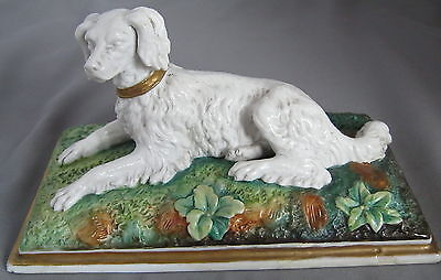 Vintage porcelain collie or spaniel type dog figure ~ marked AICH ~ Czech? ~ a/f