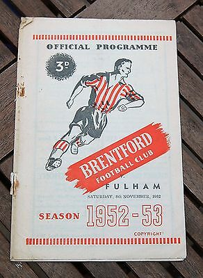 Brentford v Fulham 1952/53 Football Programme