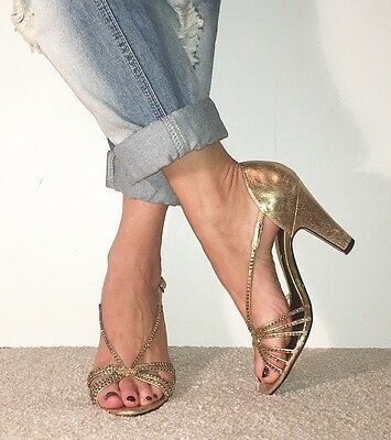 RIVER ISLAND Gold Diamanté Strappy Peep Toe Vintage Dancing Style Heels Size 6