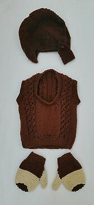 Boys Hand-Knitted Brown Tank Top, Balaclava Buttoned Hat & Mittens Age 18m WW2