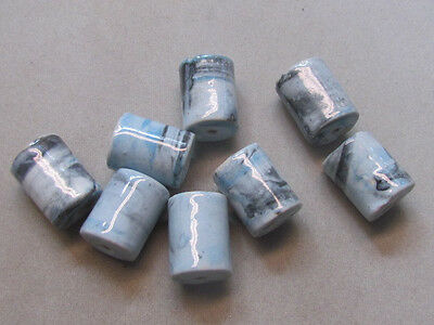 10 Multicolor Marbled 20x15mm  Porcelain Beads (G11A3)