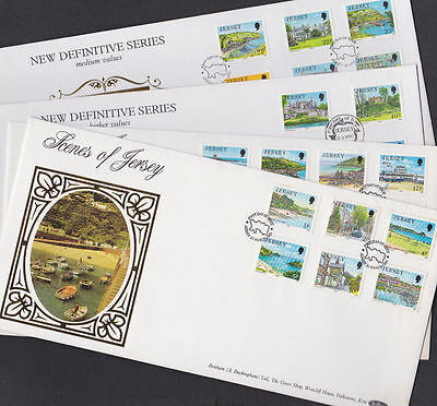 Great Britain Jersey 1988-90 FDC 4 Covers Benham Silk Limited Definitives Scenes