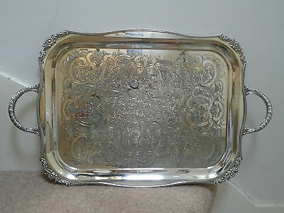 Vintage (c1925+) Large (46cm x 35cm) Ornate Viners Sheffield Silver Plated Tray